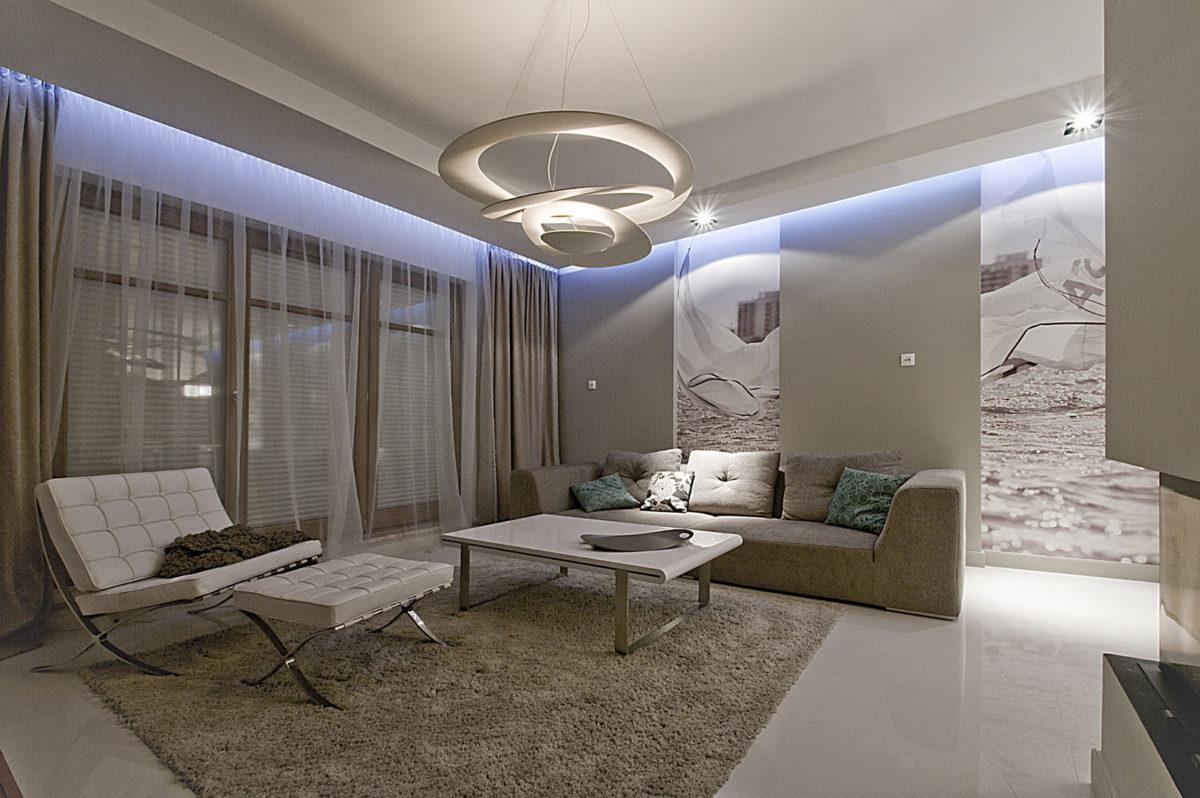 02 futurystyczna lampa oświetlenie led sofa fotel dywan